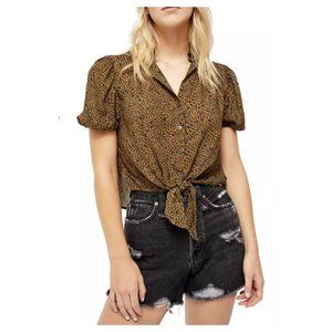 🔥HP🔥Free People Leopard Print Tie-Front Blouse